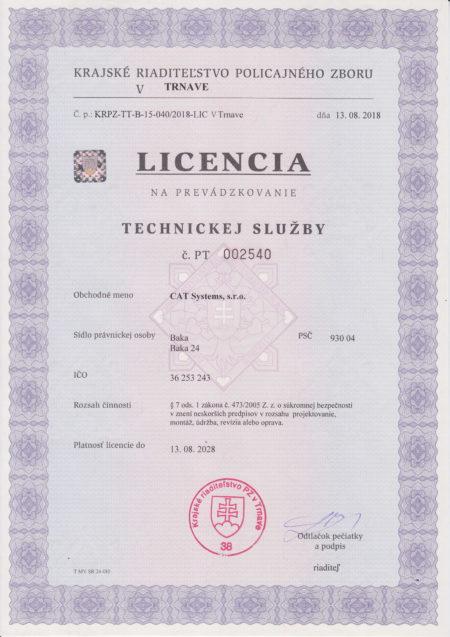 Licencia Na Prevadzkovanie Technickej Sluzby